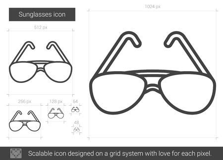Zonnebril lijn pictogram. Stock Illustratie
