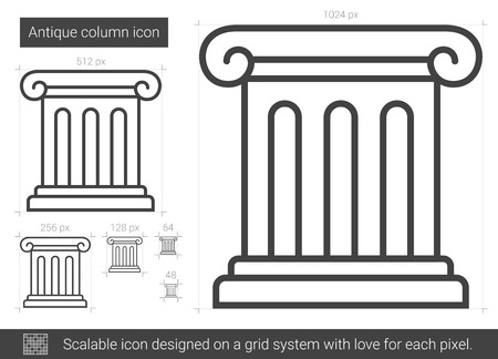Antique column line icon.
