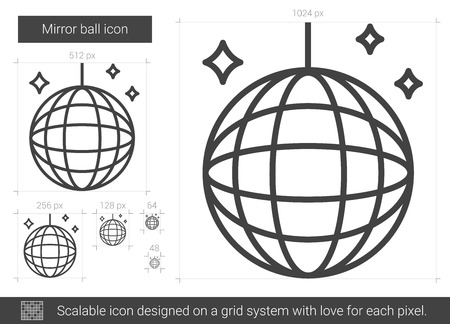 Mirror ball line icon. Illustration