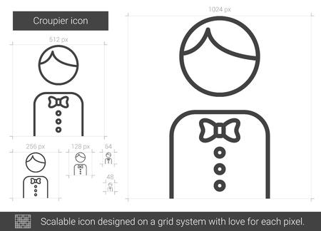 Croupier line icon. Illustration