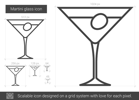 tonic: Martini glass line icon. Illustration