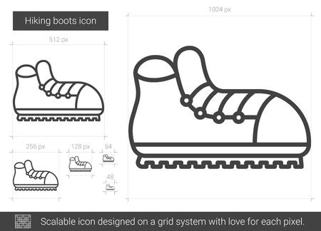 Wandelschoenen lijnpictogram. Stock Illustratie