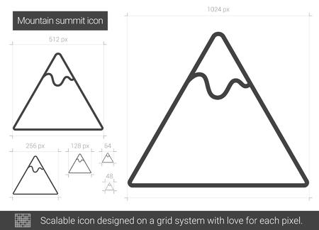 Icône de ligne de sommet de montagne. Banque d'images - 80265082