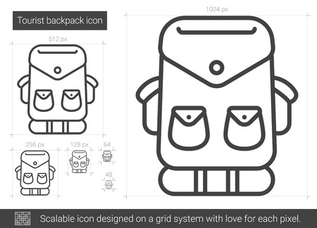mountaineering: Tourist backpack line icon.