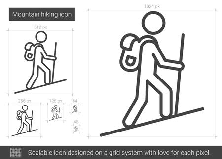 Mountain hiking line icon.