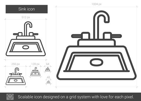 Sink line icon. Ilustração