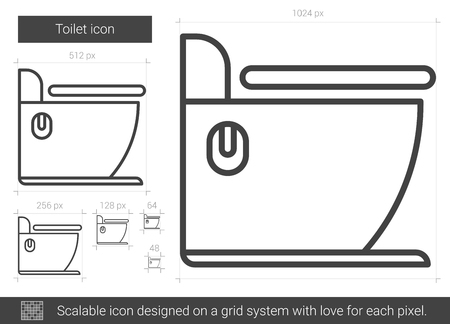 Toilet vector line icon isolated on white background. Toilet line icon for infographic, website or app. Scalable icon designed on a grid system.