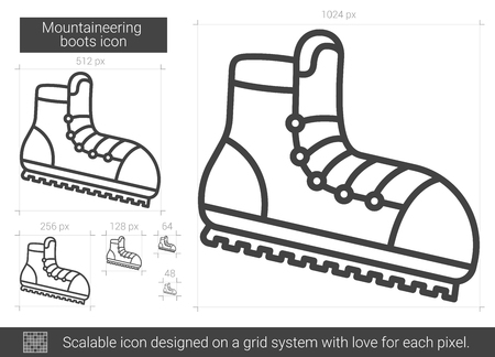 snow climbing: Mountaineering boots vector line icon isolated on white background. Mountaineering boots line icon for infographic, website or app. Scalable icon designed on a grid system.