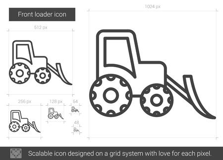 excavate: Front loader vector line icon isolated on white background. Front loader line icon for infographic, website or app. Scalable icon designed on a grid system.