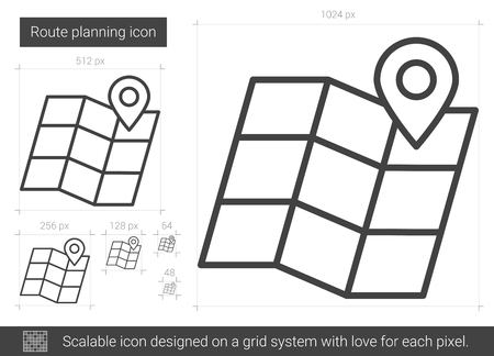 Route planning vector line icon isolated on white background. Route planning line icon for infographic, website or app. Scalable icon designed on a grid system. Çizim
