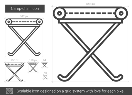 Camp-chair vector line icon isolated on white background. Camp-chair line icon for infographic, website or app. Scalable icon designed on a grid system. Illustration