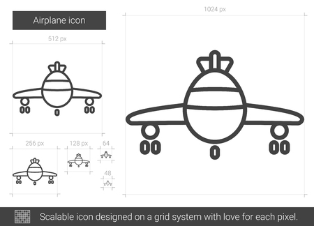 Airplane vector line icon isolated on white background. Illustration