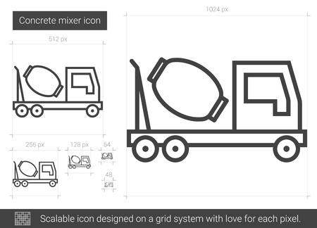 heavy construction: Concrete mixer vector line icon isolated on white background. Concrete mixer line icon for infographic, website or app. Scalable icon designed on a grid system.