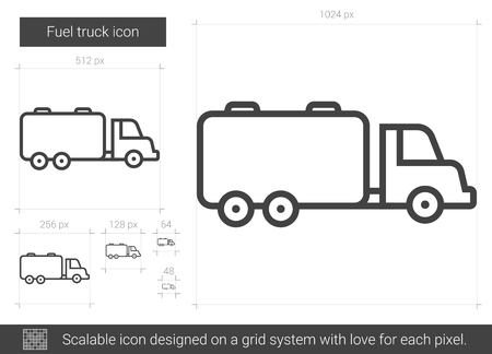 Fuel truck vector line icon isolated on white background. Fuel truck line icon for infographic, website or app. Scalable icon designed on a grid system.