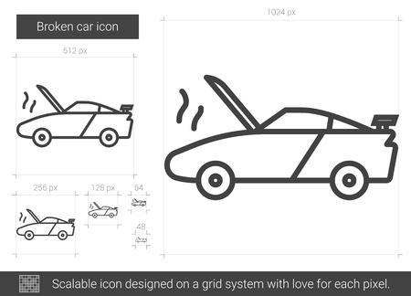 Icône de ligne de vecteur voiture cassée isolé sur fond blanc. Icône de ligne de voiture cassée pour infographie, site Web ou app. Icône évolutive conçue sur un système de grille. Banque d'images - 80263474