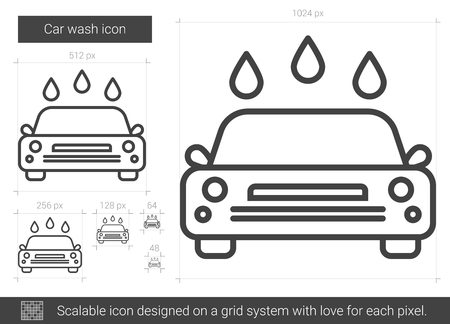 drops of water: Car wash vector line icon isolated on white background. Car wash line icon for infographic, website or app. Scalable icon designed on a grid system.