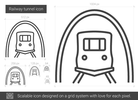 Railway tunnel vector line icon isolated on white background. Railway tunnel line icon for infographic, website or app. Scalable icon designed on a grid system.