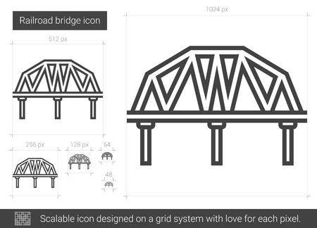 metal grid: Railroad bridge vector line icon isolated on white background. Railroad bridge line icon for infographic, website or app. Scalable icon designed on a grid system. Illustration