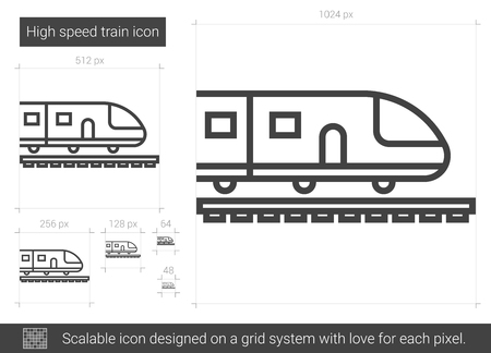 high speed rail: High speed train vector line icon isolated on white background. High speed train line icon for infographic, website or app. Scalable icon designed on a grid system.