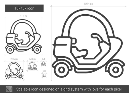 auto rickshaw: Tuk tuk vector line icon isolated on white background. Tuk tuk line icon for infographic, website or app. Scalable icon designed on a grid system.