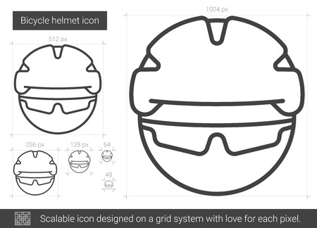 Bicycle helmet vector line icon isolated on white background. Bicycle helmet line icon for infographic, website or app. Scalable icon designed on a grid system. Reklamní fotografie - 80263494