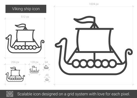 rowboat: Viking ship line icon.