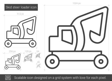 skid: Skid steer loader vector line icon isolated on white background. Skid steer loader line icon for infographic, website or app. Scalable icon designed on a grid system. Illustration