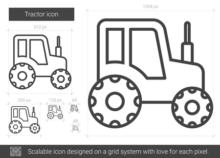 agrarian: Tractor vector line icon isolated on white background. Tractor line icon for infographic, website or app. Scalable icon designed on a grid system.