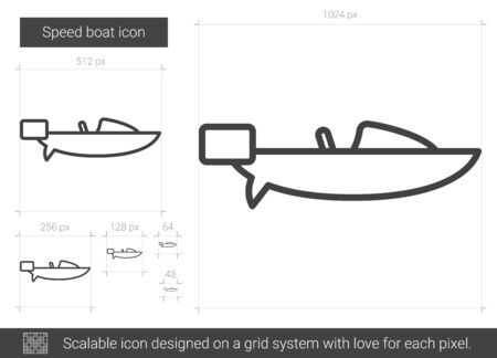 Speed boat vector line icon isolated on white background. Speed boat line icon for infographic, website or app. Scalable icon designed on a grid system.