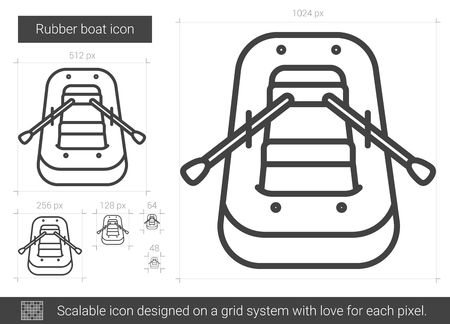 hand line fishing: Rubber boat vector line icon isolated on white background. Rubber boat line icon for infographic, website or app. Scalable icon designed on a grid system. Illustration