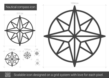 Nautical compass vector line icon isolated on white background. Nautical compass line icon for infographic, website or app. Scalable icon designed on a grid system. 向量圖像