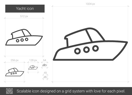 Yacht vector line icon isolated on white background. Yacht line icon for infographic, website or app. Scalable icon designed on a grid system.