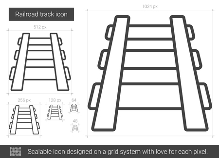 drawn metal: Railroad track vector line icon isolated on white background. Railroad track line icon for infographic, website or app. Scalable icon designed on a grid system.