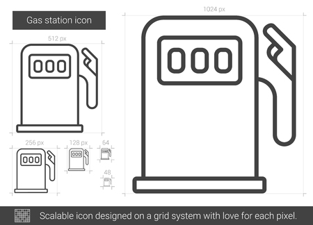 Gas station vector line icon isolated on white background. Gas station line icon for infographic, website or app. Scalable icon designed on a grid system.