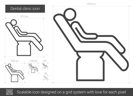Dental clinic vector line icon isolated on white background. Dental clinic line icon for infographic, website or app. Scalable icon designed on a grid system.