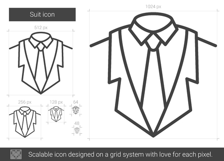 흰색 배경에 고립 된 벡터 라인 아이콘을 맞게. 인포 그래픽, 웹 사이트 또는 앱의 수트 선 아이콘. 그리드 시스템에서 설계된 확장 가능한 아이콘.