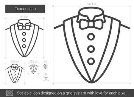 Tuxedo vector line icon isolated on white background. Tuxedo line icon for infographic, website or app. Scalable icon designed on a grid system. 矢量图像