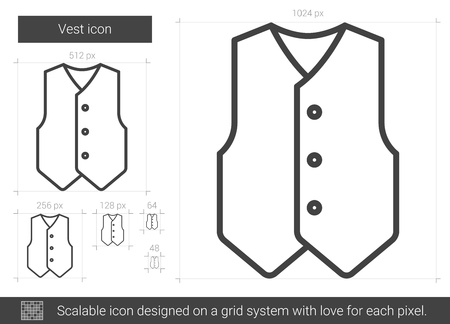 Vest vector line icon isolated on white background. Vest line icon for infographic, website or app. Scalable icon designed on a grid system. 矢量图像