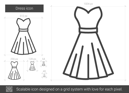 Dress vector line icon isolated on white background. Dress line icon for infographic, website or app. Scalable icon designed on a grid system. Ilustração