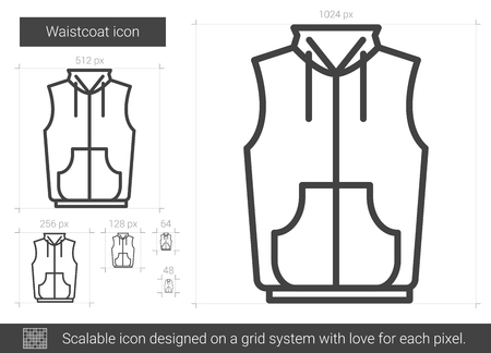 Waistcoat vector line icon isolated on white background. Waistcoat line icon for infographic, website or app. Scalable icon designed on a grid system.
