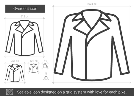 Overcoat vector line icon isolated on white background. Overcoat line icon for infographic, website or app. Scalable icon designed on a grid system.
