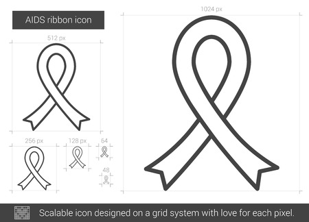 multiethnic: AIDS ribbon vector line icon isolated on white background. AIDS ribbon line icon for infographic, website or app. Scalable icon designed on a grid system. Illustration