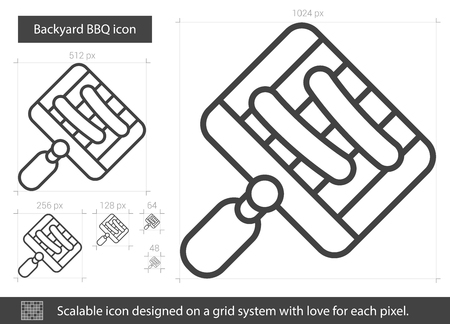 metal grate: Backyard BBQ vector line icon isolated on white background. Backyard BBQ line icon for infographic, website or app. Scalable icon designed on a grid system.