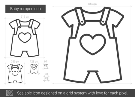 Baby romper vector line icon isolated on white background. Baby romper line icon for infographic, website or app. Scalable icon designed on a grid system. 向量圖像
