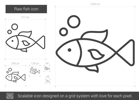 hand line fishing: Raw fish vector line icon isolated on white background. Raw fish line icon for infographic, website or app. Scalable icon designed on a grid system.