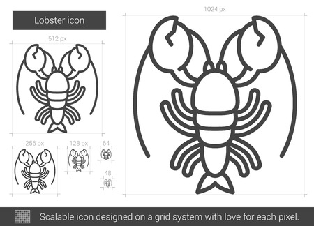 Lobster line icon for web, mobile and infographics. Vector white icon isolated on red background. Illusztráció