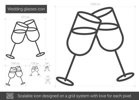 Hochzeitsglasvektorlinie Ikone lokalisiert auf weißem Hintergrund. Hochzeitsbrille Linie Symbol für Infografik, Website oder App. Skalierbares Symbol in einem Rastersystem.