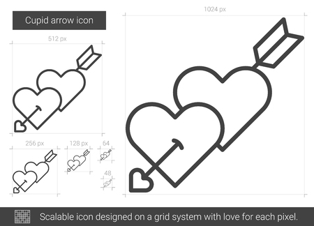 family holiday: Cupid arrow vector line icon isolated on white background. Cupid arrow line icon for infographic, website or app. Scalable icon designed on a grid system.