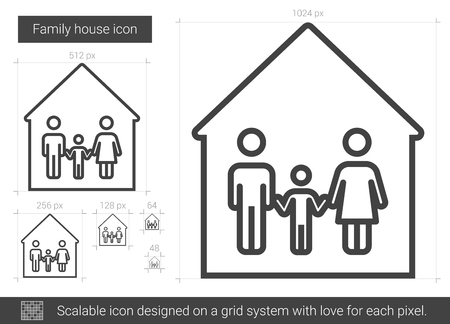 child care: Family house vector line icon isolated on white background. Family house line icon for infographic, website or app. Scalable icon designed on a grid system.