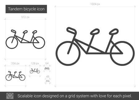 Tandem bicycle vector line icon isolated on white background. Tandem bicycle line icon for infographic, website or app. Scalable icon designed on a grid system. Vettoriali